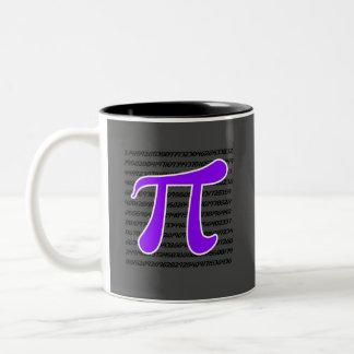 Símbolo violeta de la púrpura pi taza de café de dos colores