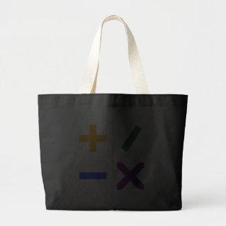 Símbolos aritméticos coloridos bolsas
