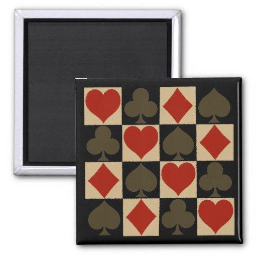 Símbolos artsy de la tarjeta imán cuadrado