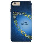 Símbolos cristianos de los pescados en fondo azul funda para iPhone 6 plus tough