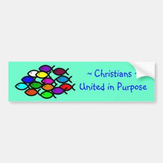 Símbolos cristianos de los pescados - escuela del  etiqueta de parachoque