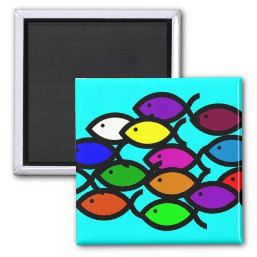Símbolos cristianos de los pescados - escuela del imán cuadrado