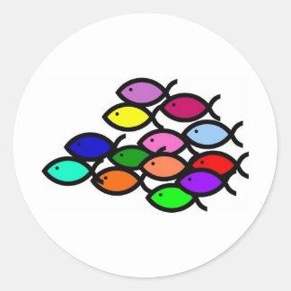 Símbolos cristianos de los pescados - escuela del pegatinas redondas