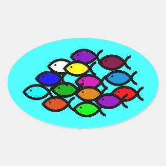 Símbolos cristianos de los pescados - escuela del pegatina ovalada