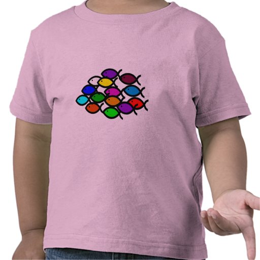 Símbolos cristianos de los pescados - escuela del  camiseta