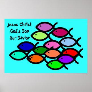 Símbolos cristianos de los pescados - escuela del póster