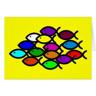 Símbolos cristianos de los pescados - escuela del tarjeta de felicitación