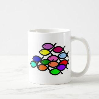 Símbolos cristianos de los pescados - escuela del  taza de café