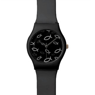 Símbolos cristianos de los pescados relojes de pulsera