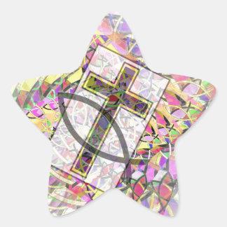 Símbolos cristianos… La cruz y los pescados Pegatina En Forma De Estrella