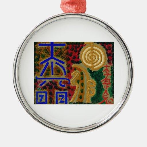 Símbolos curativos del vintage REIKI según lo Adornos De Navidad