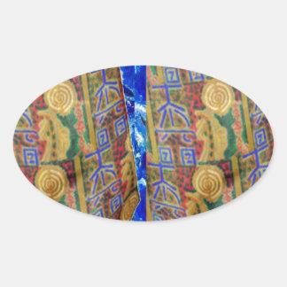Símbolos curativos PUROS del color REIKI por Navin Calcomania Oval Personalizadas