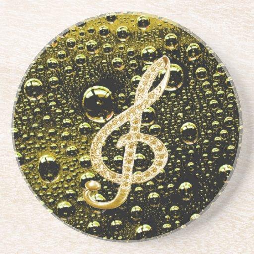 Símbolos de Glef de la música con el fondo de la g Posavasos Para Bebidas