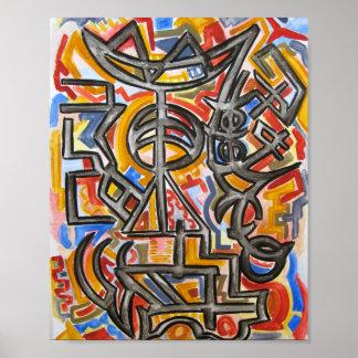 Símbolos de la cueva - poster del arte abstracto
