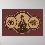 Símbolos de la impresión de Buda Póster