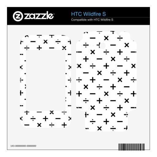 Símbolos de la matemáticas - blancos y negros HTC wildfire s skins