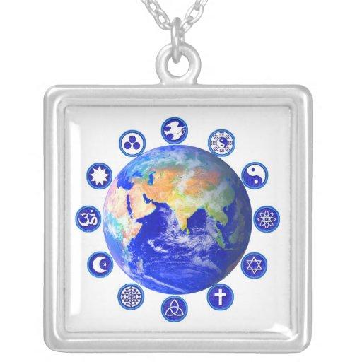 Símbolos de la paz y de la unidad en todo el mundo pendientes personalizados