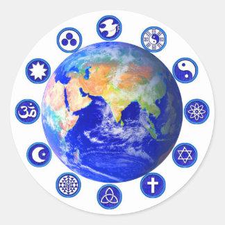 Símbolos de la paz y de la unidad pegatina redonda
