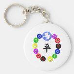 Símbolos de la religión del mundo llavero personalizado