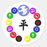Símbolos de la religión del mundo pegatinas redondas