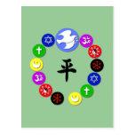 Símbolos de la religión del mundo tarjetas postales