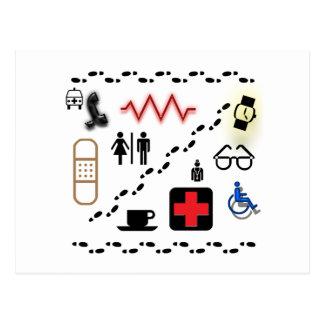 Símbolos de la salud tarjeta postal