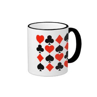 Símbolos de la tarjeta clásicos taza a dos colores
