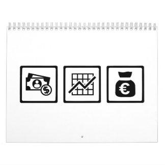 Símbolos de las finanzas del banquero calendario de pared
