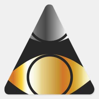 símbolos de los ojos en oro y plata pegatina triangular