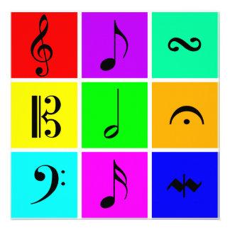 símbolos de música brillantes invitacion personalizada