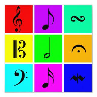símbolos de música brillantes invitación 13,3 cm x 13,3cm