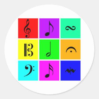 símbolos de música brillantes pegatinas redondas