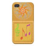 Símbolos de música de baile en hoja de ORO iPhone 4 Protectores