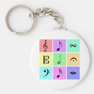 símbolos de música en colores pastel llavero redondo tipo pin