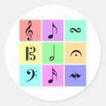 símbolos de música en colores pastel pegatina redonda
