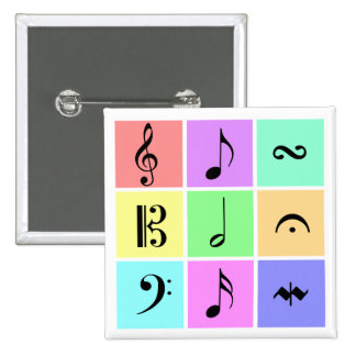 símbolos de música en colores pastel pin cuadrado