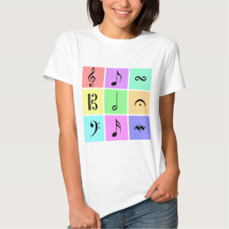 símbolos de música en colores pastel remera
