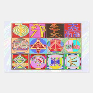Símbolos de NOVINO ReikiHealing n KARUNA Reiki Pegatina Rectangular