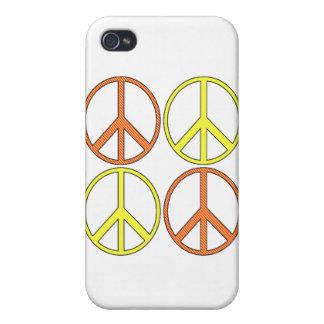 Símbolos de paz amarillos y anaranjados retros del iPhone 4 carcasas
