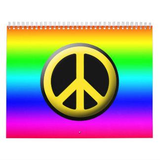 Símbolos de paz coloreados calendario de pared