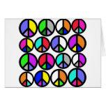 Símbolos de paz multicolores felicitaciones