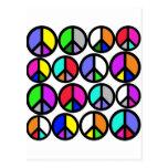 Símbolos de paz multicolores postal