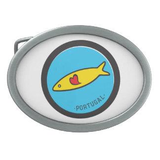 Símbolos de Portugal - sardina Nr. 02 Hebillas De Cinturón Ovales