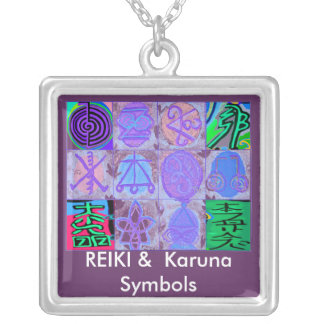 Símbolos de Reiki n Karuna Colgante Cuadrado