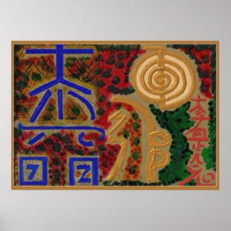 Símbolos de ReikiHealingArt por Navin Joshi abril  Póster