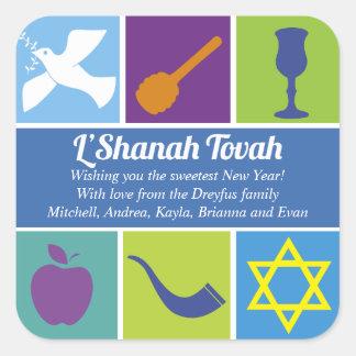 Símbolos de Rosh Hashanah Pegatinas Cuadradas