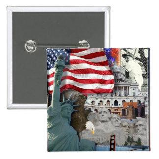 Símbolos del americano de los E.E.U.U. Pin Cuadrado