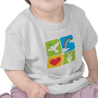 Símbolos del amor y de la paz de la esperanza de l camisetas