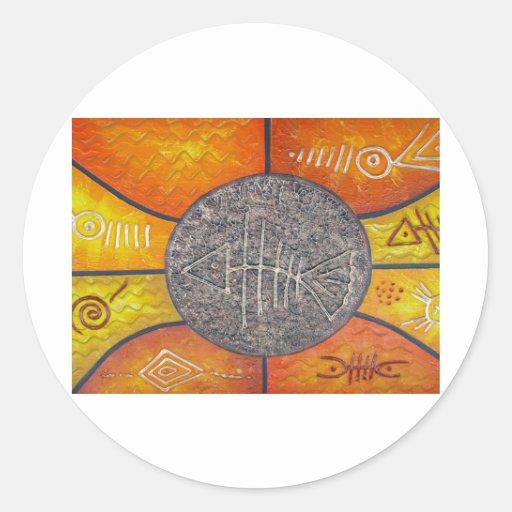 Símbolos del arte etiqueta redonda