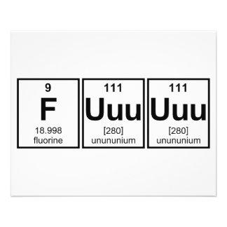 Símbolos del elemento de tabla periódica de Fuuuuu Flyer A Todo Color